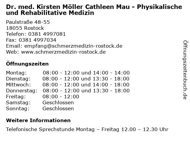 Dr. med. Kirsten Möller Cathleen Mau - Physikalische und Rehabilitative Medizin in Rostock: Adresse und Öffnungszeiten
