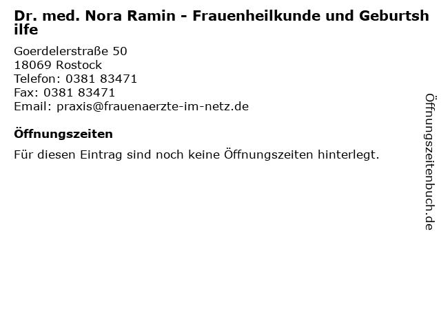 Dr. med. Nora Ramin - Frauenheilkunde und Geburtshilfe in Rostock: Adresse und Öffnungszeiten