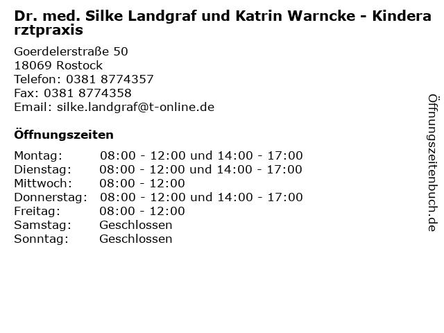 Dr. med. Silke Landgraf und Katrin Warncke - Kinderarztpraxis in Rostock: Adresse und Öffnungszeiten