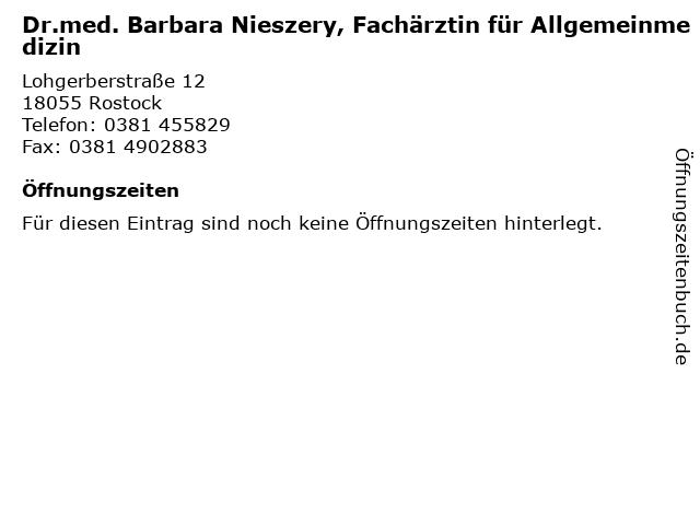 Dr.med. Barbara Nieszery, Fachärztin für Allgemeinmedizin in Rostock: Adresse und Öffnungszeiten
