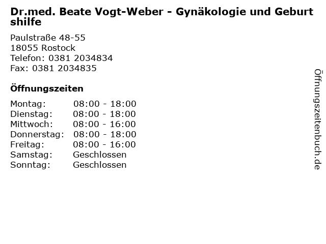 Dr.med. Beate Vogt-Weber - Gynäkologie und Geburtshilfe in Rostock: Adresse und Öffnungszeiten