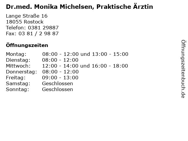 Dr.med. Monika Michelsen, Praktische Ärztin in Rostock: Adresse und Öffnungszeiten
