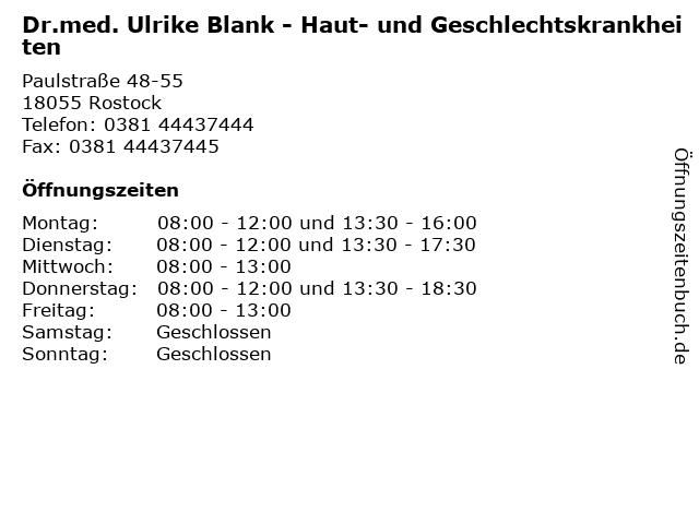 Dr.med. Ulrike Blank - Haut- und Geschlechtskrankheiten in Rostock: Adresse und Öffnungszeiten