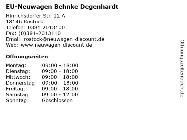 EU-Neuwagen Behnke Degenhardt in Rostock: Adresse und Öffnungszeiten
