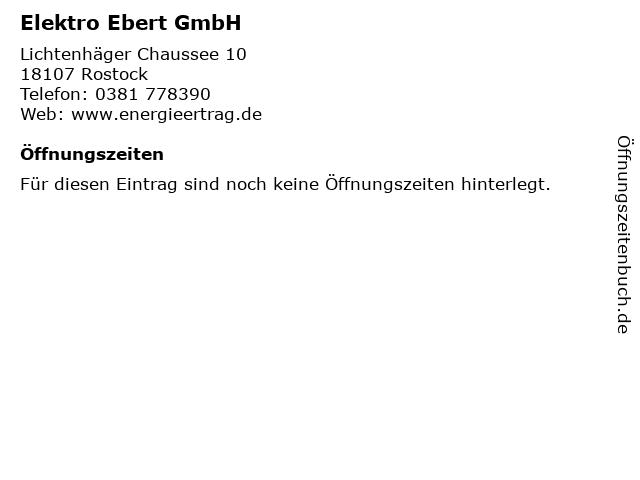 Elektro Ebert GmbH in Rostock: Adresse und Öffnungszeiten