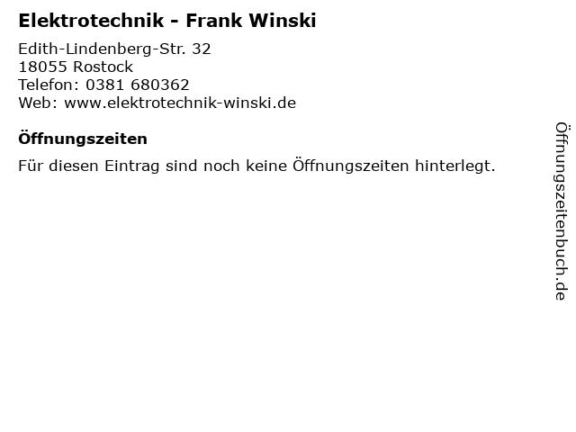 Elektrotechnik - Frank Winski in Rostock: Adresse und Öffnungszeiten