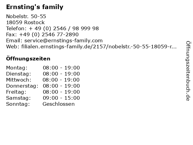 Ernsting's family in Rostock: Adresse und Öffnungszeiten