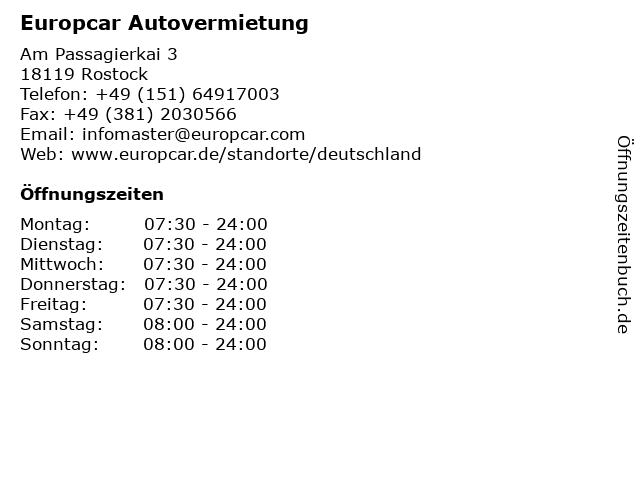 Europcar Autovermietung in Rostock: Adresse und Öffnungszeiten
