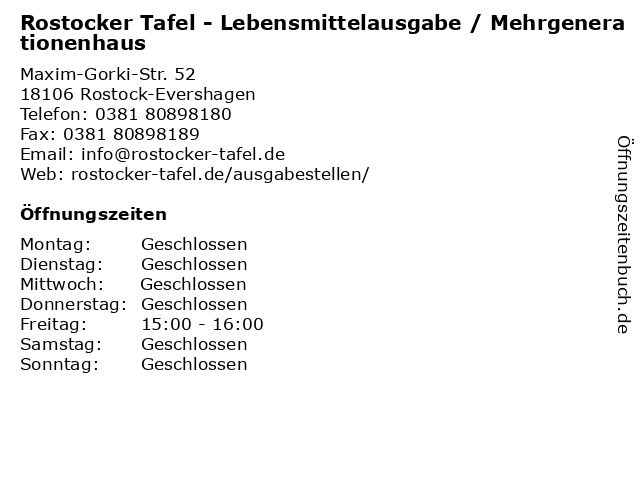 Rostocker Tafel - Lebensmittelausgabe / Mehrgenerationenhaus in Rostock-Evershagen: Adresse und Öffnungszeiten