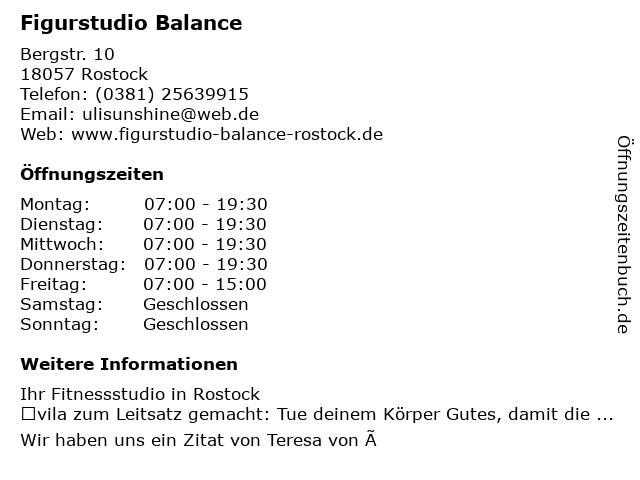 Figurstudio Balance    Ulrike Szanczik in Rostock: Adresse und Öffnungszeiten