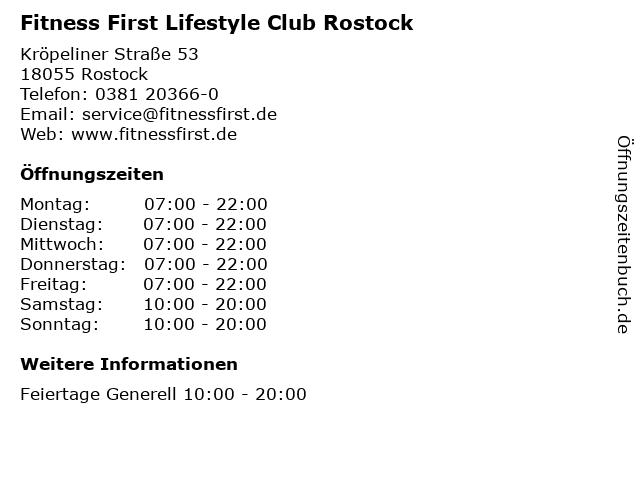 Fitness First Lifestyle Club Rostock in Rostock: Adresse und Öffnungszeiten