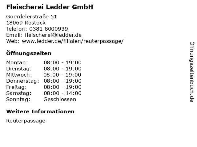 Fleischerei Ledder GmbH in Rostock: Adresse und Öffnungszeiten