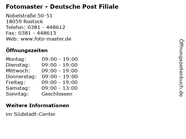Fotomaster - Deutsche Post Filiale in Rostock: Adresse und Öffnungszeiten