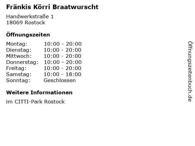 Fränkis Körri Braatwurscht in Rostock: Adresse und Öffnungszeiten