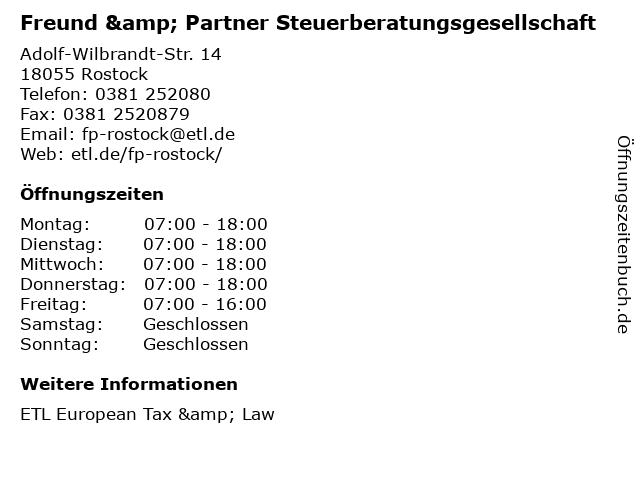 Freund & Partner Steuerberatungsgesellschaft in Rostock: Adresse und Öffnungszeiten