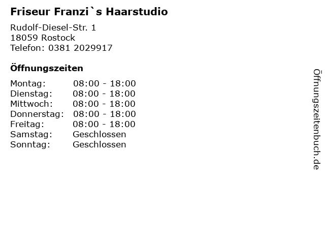 Friseur Franzi`s Haarstudio in Rostock: Adresse und Öffnungszeiten
