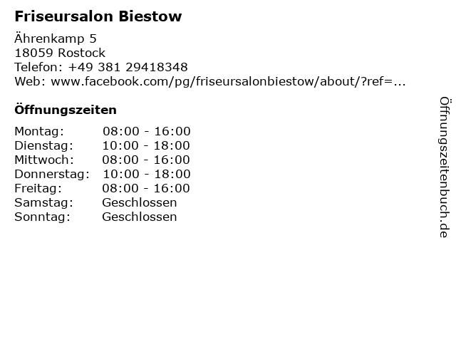 Friseursalon Biestow in Rostock: Adresse und Öffnungszeiten
