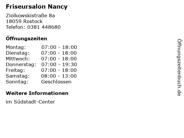 Friseursalon Nancy in Rostock: Adresse und Öffnungszeiten
