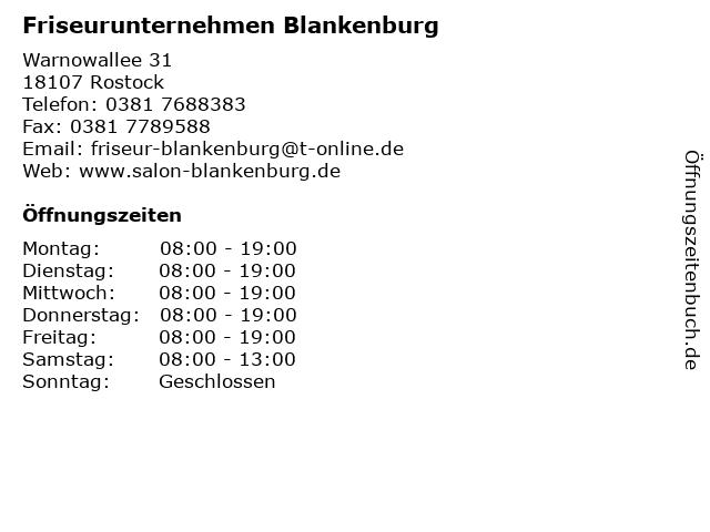 Friseurunternehmen Blankenburg in Rostock: Adresse und Öffnungszeiten