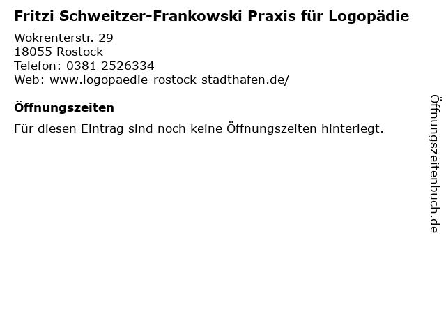 Fritzi Schweitzer-Frankowski Praxis für Logopädie in Rostock: Adresse und Öffnungszeiten