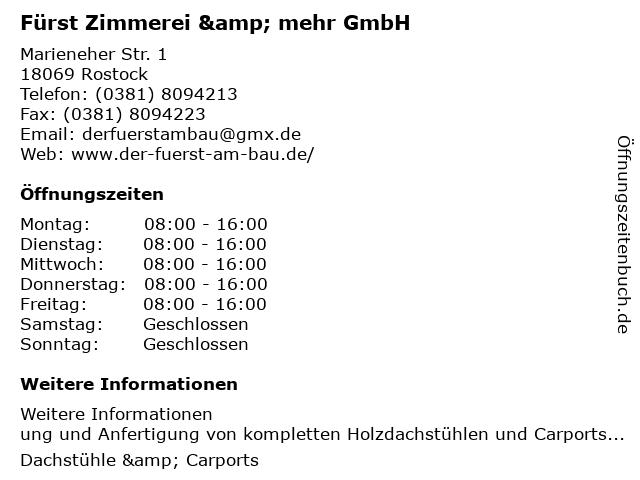 Fürst Zimmerei & mehr GmbH in Rostock: Adresse und Öffnungszeiten