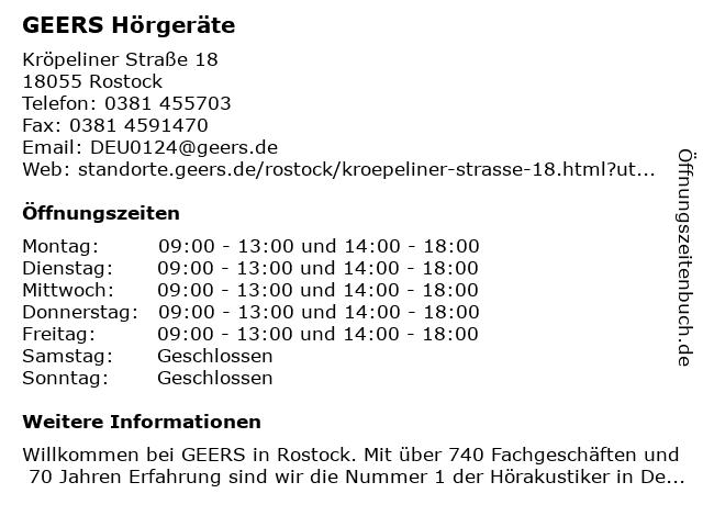 GEERS Hörgeräte in Rostock: Adresse und Öffnungszeiten