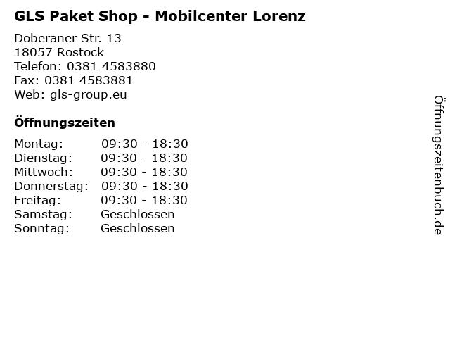GLS Paket Shop - Mobilcenter Lorenz in Rostock: Adresse und Öffnungszeiten