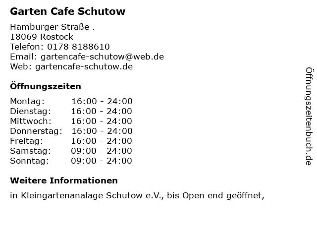 Garten Cafe Schutow in Rostock: Adresse und Öffnungszeiten