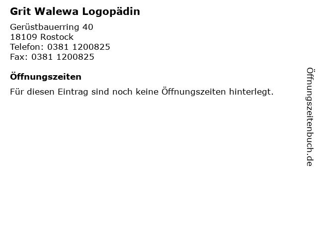 Grit Walewa Logopädin in Rostock: Adresse und Öffnungszeiten
