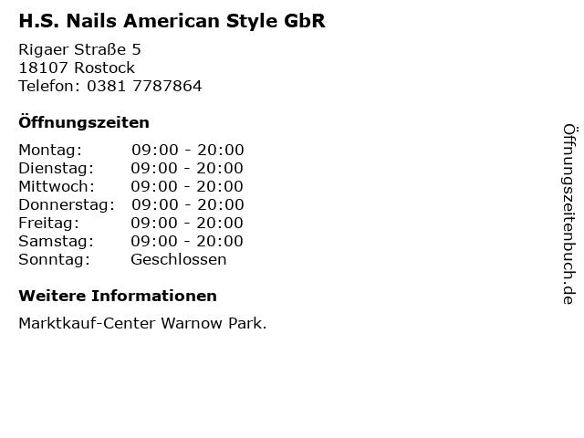 H.S. Nails American Style GbR in Rostock: Adresse und Öffnungszeiten