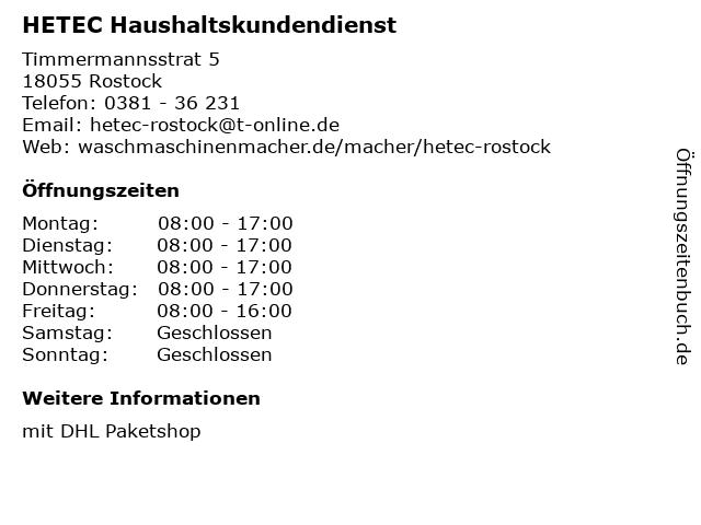 HETEC Haushaltskundendienst in Rostock: Adresse und Öffnungszeiten