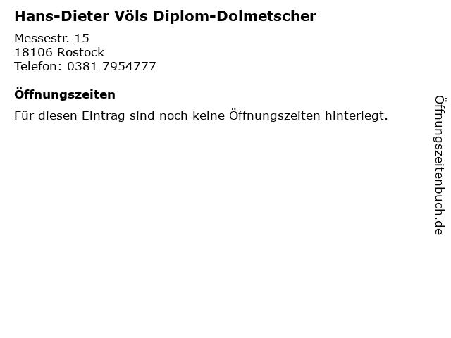 Hans-Dieter Völs Diplom-Dolmetscher in Rostock: Adresse und Öffnungszeiten