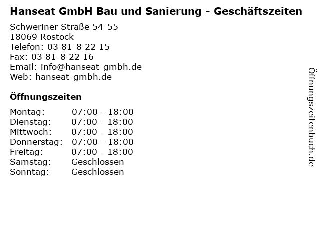 Hanseat GmbH Bau und Sanierung - Geschäftszeiten in Rostock: Adresse und Öffnungszeiten