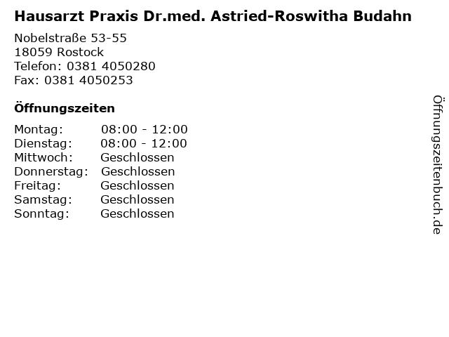 Hausarzt Praxis Dr.med. Astried-Roswitha Budahn in Rostock: Adresse und Öffnungszeiten
