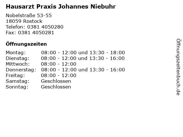 Hausarzt Praxis Johannes Niebuhr in Rostock: Adresse und Öffnungszeiten
