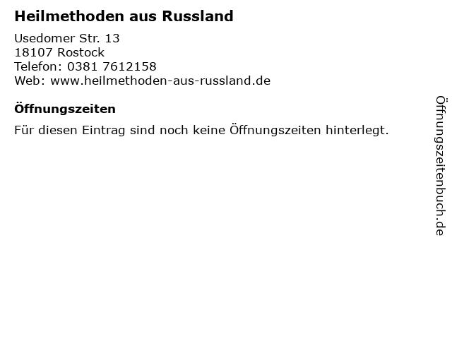 Heilmethoden aus Russland in Rostock: Adresse und Öffnungszeiten