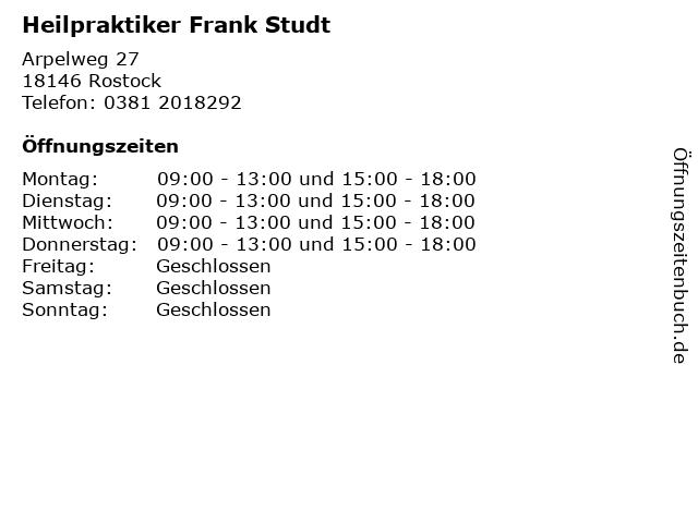 Heilpraktiker Frank Studt in Rostock: Adresse und Öffnungszeiten