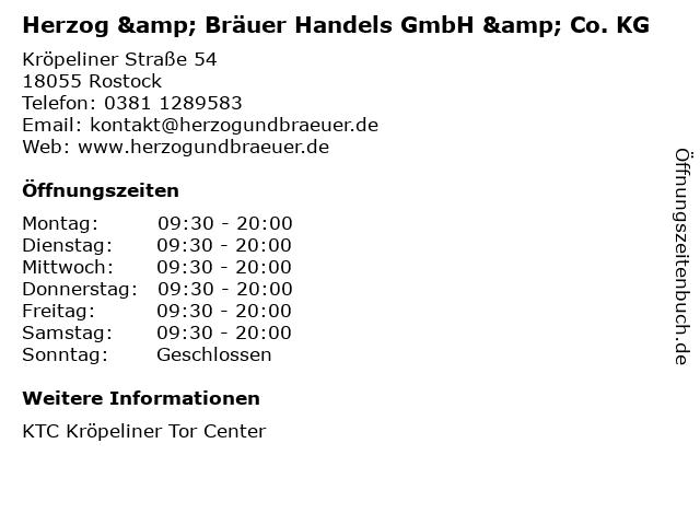 Herzog & Bräuer Handels GmbH & Co. KG in Rostock: Adresse und Öffnungszeiten