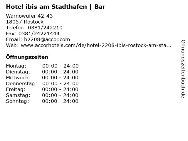 Hotel ibis am Stadthafen | Bar in Rostock: Adresse und Öffnungszeiten