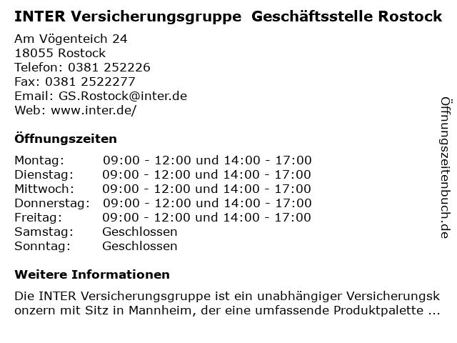 INTER Versicherungsgruppe Geschäftsstelle Rostock in Rostock: Adresse und Öffnungszeiten