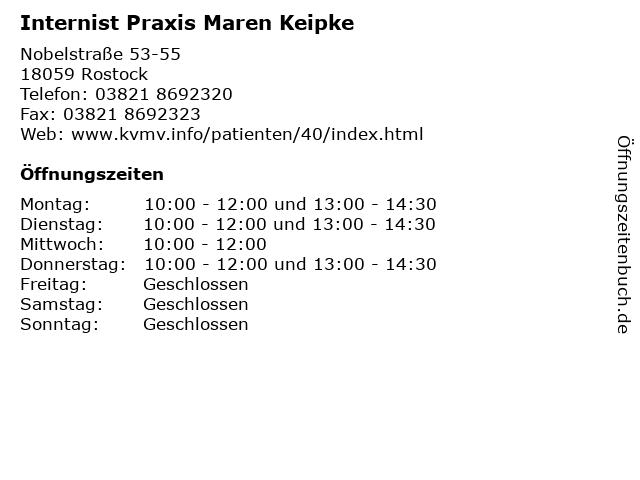 Internist Praxis Maren Keipke in Rostock: Adresse und Öffnungszeiten