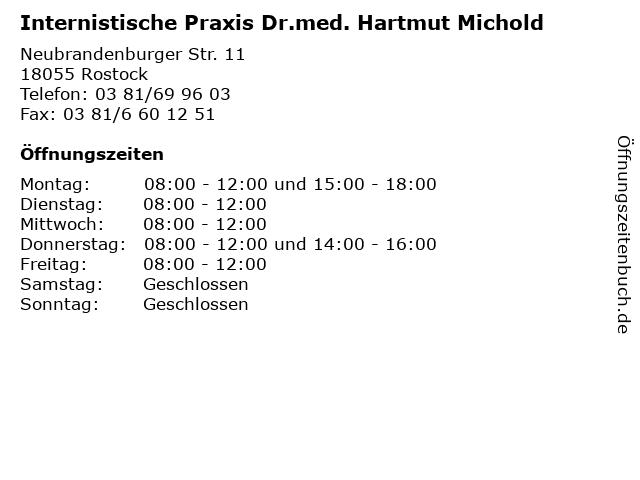 Internistische Praxis Dr.med. Hartmut Michold in Rostock: Adresse und Öffnungszeiten