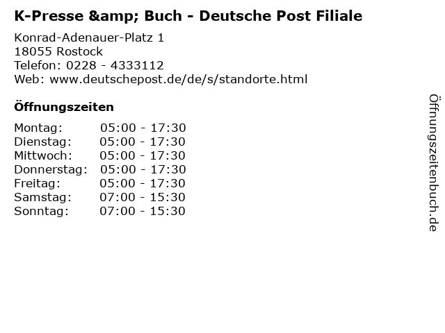 K-Presse & Buch - Deutsche Post Filiale in Rostock: Adresse und Öffnungszeiten