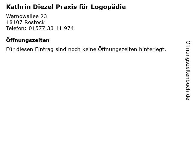 Kathrin Diezel Praxis für Logopädie in Rostock: Adresse und Öffnungszeiten