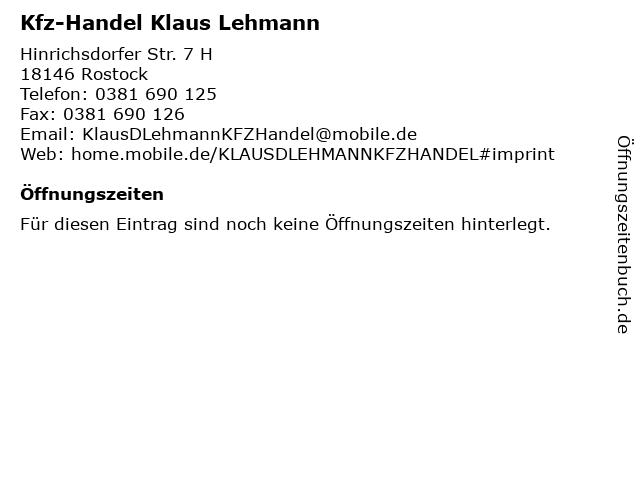 Kfz-Handel Klaus Lehmann in Rostock: Adresse und Öffnungszeiten