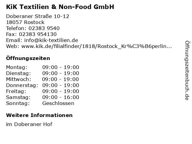 KiK Textilien & Non-Food GmbH in Rostock: Adresse und Öffnungszeiten