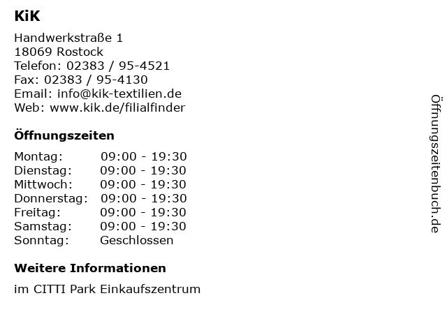 KiK in Rostock: Adresse und Öffnungszeiten