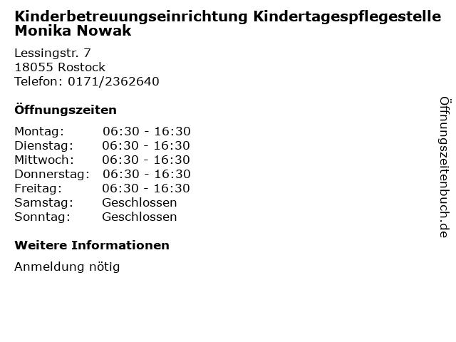 Kinderbetreuungseinrichtung Kindertagespflegestelle Monika Nowak in Rostock: Adresse und Öffnungszeiten