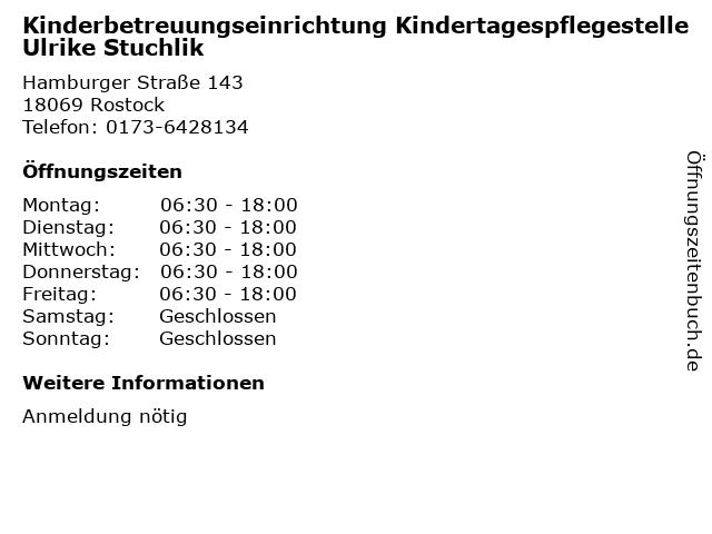 Kinderbetreuungseinrichtung Kindertagespflegestelle Ulrike Stuchlik in Rostock: Adresse und Öffnungszeiten