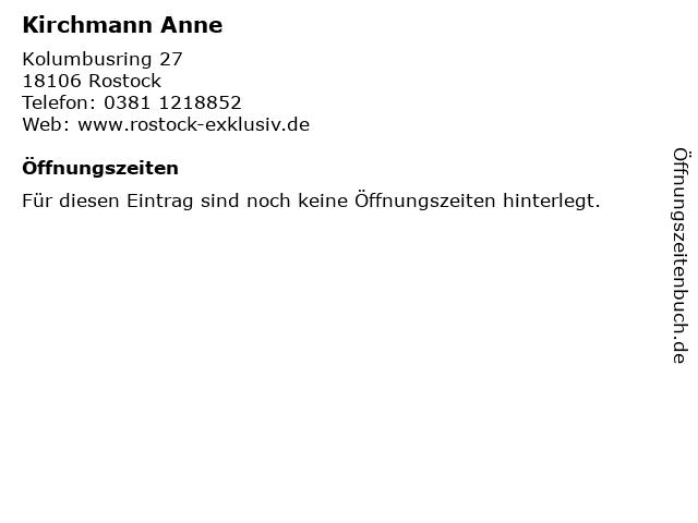 Kirchmann Anne in Rostock: Adresse und Öffnungszeiten